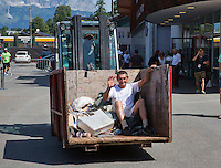 Austria, Kitzbühel, Juli 18, 2015, Tennis,  Junior Davis Cup, the dustman<br /> Photo: Tennisimages/Henk Koster