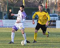 SCT Menen - RC Harelbeke :<br /> duel tussen Gianni Sennesael (R) en Jeroen Doornaert (L)<br /> <br /> Foto VDB / Bart Vandenbroucke