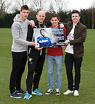 Rangers u20 coach Gordon Durie with Luca Gasparotto, Charlie Telfer and Callum Gallagher ahead of the youth cup quarter final match with Dunfermline