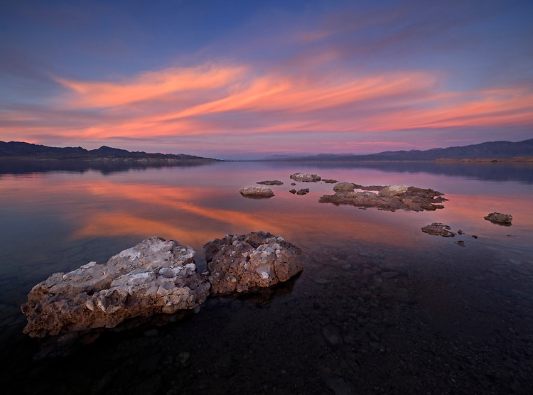 Sunset reflections from Bonelli Bay area looking toward the Overton Arm in the Lake Mead National Recreation Area on the Arizona-Nevada border (Photo from Arizona looking into Nevada)