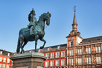 King Philip III landmark in the Plaza Mayor, Madrid, Spain