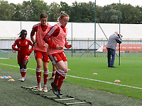 Maurane Marinucci (7) of Standard and Zoe Van Eynde (14) of Standard warming up before a female soccer game between Standard Femina de Liege and White Star Woluwe on the fifth matchday of the 2021 - 2022 season of Belgian Scooore Womens Super League , saturday 2 nd of October 2021  in Angleur , Belgium . PHOTO SPORTPIX   SEVIL OKTEM