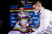 Filippo Ganna (ITA/Ineos Grenadiers) signing a fresh rainbow jersey<br /> <br /> Men Elite Individual Time Trial <br /> from Knokke-Heist to Bruges (43.3 km)<br /> <br /> UCI Road World Championships - Flanders Belgium 2021<br /> <br /> ©kramon