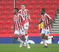 Stoke City's Tyrese Campbell celebrates scoring his side's first goal <br /> <br /> Photographer Mick Walker/CameraSport<br /> <br /> The EFL Sky Bet Championship - Stoke City v HUddersfield Town - Saturday 21st November 2020 - bet365 Stadium - Stoke<br /> <br /> World Copyright © 2020 CameraSport. All rights reserved. 43 Linden Ave. Countesthorpe. Leicester. England. LE8 5PG - Tel: +44 (0) 116 277 4147 - admin@camerasport.com - www.camerasport.com