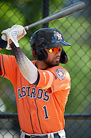 Houston Astros Carlos Machado (1) on deck during a Minor League Spring Training Intrasquad game on March 28, 2019 at the FITTEAM Ballpark of the Palm Beaches in West Palm Beach, Florida.  (Mike Janes/Four Seam Images)