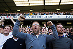 Tottenham Hotspur 4 Watford 0, 08/04/2017. White Hart Lane, Premier League. Supporters in the South Stand react with delight as the home team take the lead as Tottenham Hotspur took on Watford in an English Premier League match at White Hart Lane. Spurs were due to make an announcement in April 2016 regarding when they would move out of their historic home and relocate to Wembley as their new stadium was completed. Spurs won this match 4-0 watched by a crowd of 31,706, a reduced attendance figure due to the ongoing ground redevelopment. Photo by Colin McPherson.