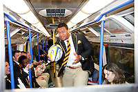 Photo: Richard Lane/Richard Lane Photography. Wasps in the City, Paternoster Square, London. 30/04/2015. Wasps' Nathan Hughes on the London Underground on his way to the City.