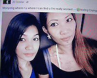 Murder victim Sumarti Ningsih (L) and 'Amanda' (R), are seen in a chilling Facebook photo from 'Amanda's personal Facebook page dated 26 October 2014, twhich is he day Sumarti Ningsih was allegedly murdered by Rurik Jutting, Hong Kong, China, 29 November 2014.<br /> <br /> PHOTO BY SUPPLIED BY ALEX HOFFORD/  SINOPIX