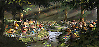 This was the master illustration of the Smurf Village completed during pre-production on THE SMURFS MOVIE.