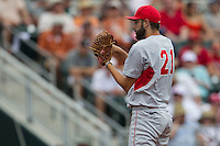 Houston Cougars starting pitcher Aaron Garza (21) looks to his catcher for the sign during the NCAA Super Regional baseball game against the Texas Longhorns on June 7, 2014 at UFCU Disch–Falk Field in Austin, Texas. The Longhorns are headed to the College World Series after they defeated the Cougars 4-0 in Game 2 of the NCAA Super Regional. (Andrew Woolley/Four Seam Images)