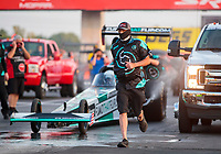 Sep 3, 2020; Clermont, Indiana, United States; Crew members for NHRA top alcohol dragster driver Corey Michalek during qualifying for the US Nationals at Lucas Oil Raceway. Mandatory Credit: Mark J. Rebilas-USA TODAY Sports