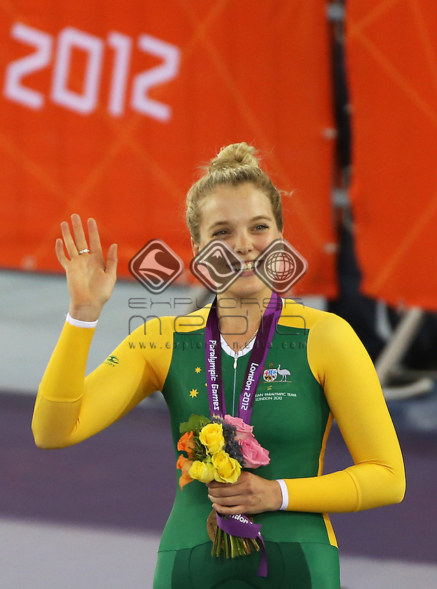Alexandra Green (AUS) during the medal ceremony after the Women's C4 Individual Pursuit.<br /> Track Cycling, Velodrome, Olympic Park (Thursday 29th Aug)<br /> Paralympics - Summer / London 2012<br /> London England 29 Aug - 9 Sept <br /> © Sport the library/Joseph Johnson