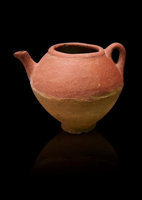 Assyrian Traders terra cotta imported teapot with side spout . 1900 - 1600 BC. Çorum Archaeological Museum, Corum, Turkey. Against a black bacground.