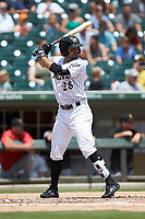 Ryan LaMarre (28) of the Charlotte Knights at bat against the Indianapolis Indians at BB&T BallPark on August 22, 2018 in Charlotte, North Carolina.  The Indians defeated the Knights 6-4 in 11 innings.  (Brian Westerholt/Four Seam Images)