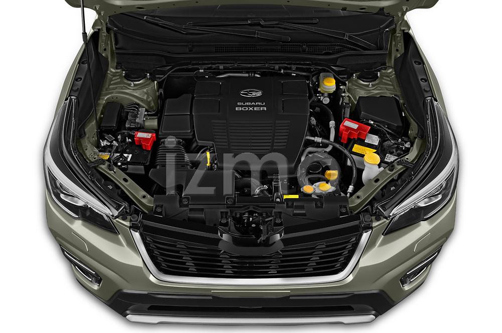 Car Stock 2019 Subaru Forester e-Boxer-Premium 5 Door SUV Engine  high angle detail view