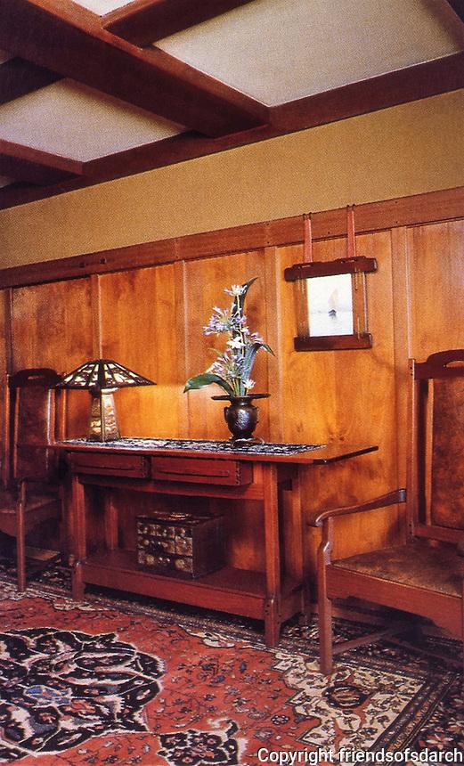 Greene & Greene:  Gamble House, Pasadena CA., 1908.   Interior detail.<br /> Custom designed furniture and fine wood details. Arts & Crafts style.