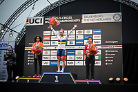 Women U23 podium with Ceylin Del Carmen Alvarado (NED-Iko Corendon), winner Evie Richards (GBR) and Nadja Heigl (AUT)<br /> <br /> Women U23 Race<br /> UCI CX Worlds 2018<br /> Valkenburg - The Netherlands