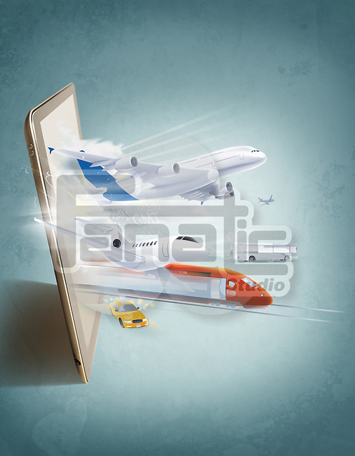 Illustrative image of various public transport and digital tablet representing online booking
