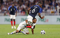 Lyon, France - Saturday June 09, 2018: Julian Green, Paul Pogba during an international friendly match between the men's national teams of the United States (USA) and France (FRA) at Groupama Stadium.