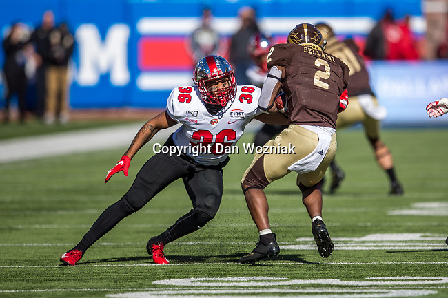 Western Kentucky Hilltoppers linebacker Kyle Bailey (36) in action during the Servpro First Responder Bowl game between Western Michigan Broncos and the Western Kentucky Hilltoppers at the gerald Ford Stadiuml Stadium in Dallas, Texas.