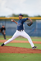 GCL Rays pitcher Dauris Cordero (18) during a Gulf Coast League game against the GCL Pirates on August 7, 2019 at Charlotte Sports Park in Port Charlotte, Florida.  GCL Rays defeated the GCL Pirates 5-3 in the second game of a doubleheader.  (Mike Janes/Four Seam Images)