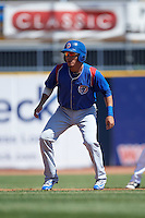 South Bend Cubs second baseman Carlos Sepulveda (2) leads off second base during a game against the Lake County Captains on July 27, 2016 at Classic Park in Eastlake, Ohio.  Lake County defeated South Bend 5-4.  (Mike Janes/Four Seam Images)