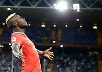 23rd September 2021; G.Ferraris Stadium, Genoa, Italy; Serie A football, Sampdoria versus Napoli : Victor Osimhen of Napoli  celebrates after scoreing for 3 - 0 in 50th minute