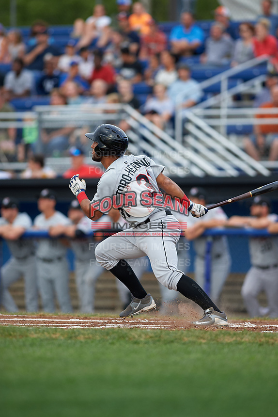 Tri-City ValleyCats third baseman Abraham Toro-Hernandez (31) hits a double during a game against the Batavia Muckdogs on July 14, 2017 at Dwyer Stadium in Batavia, New York.  Batavia defeated Tri-City 8-4.  (Mike Janes/Four Seam Images)