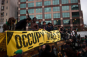 """New York, New York<br /> November 15, 2011<br /> <br /> After the police clear Zuccotti Park many of the evicted """"Occupy Wall Street"""" protesters, march to Juan Pablo Duarte Square at Canal and 6th Ave and final back to Zuccotti Park to wait a court order to reenter the park."""