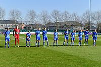 line-up team Gent ( Chloe Vande Velde (10) of AA Gent , goalkeeper Nicky Evrard (1) of AA Gent , Rkia Mazrouai (2) of AA Gent , Ella Van Kerkhoven (3) of AA Gent , Heleen Jaques (4) of AA Gent , Emma Van Britsom (6) of AA Gent , Jolet Lommen (9) of AA Gent , Jasmien Mathys (12) of AA Gent , Lyndsey Van Belle (14) of AA Gent , Lobke Loonen (19) of AA Gent , Feli Delacauw (44) of AA Gent ) pictured during a female soccer game between  AA Gent Ladies and RSC Anderlecht on the 17th matchday of the 2020 - 2021 season of Belgian Scooore Womens Super League , saturday 20 th of March 2021 in Oostakker , Belgium . PHOTO SPORTPIX.BE | SPP | STIJN AUDOOREN
