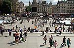 Tourists Trafalgar Square London Uk