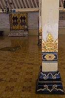 Yogyakarta, Java, Indonesia.  Great Mosque, Masjid Gedhe Kauman, mid-18th. Century.  Lotus Decoration on Supporting Column on Covered Assembly Area.