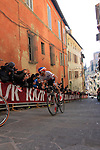 Greg Van Avermaet (BEL) BMC Racing team leads Zdenek Stybar (CZE) Etixx-Quick Step up the final vicious climb of Via S.Caterina in Siena during the 2015 Strade Bianche Eroica Pro cycle race 200km over the white gravel roads from San Gimignano to Siena, Tuscany, Italy. 7th March 2015<br /> Photo: Eoin Clarke/www.newsfile.ie