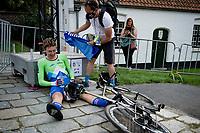Tadej Pogačar (SVN/UAE-Emirates) post-finish<br /> <br /> Men Elite Individual Time Trial <br /> from Knokke-Heist to Bruges (43.3 km)<br /> <br /> UCI Road World Championships - Flanders Belgium 2021<br /> <br /> ©kramon