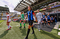 Ellen Martens (2) of Club Brugge pictured entering the pitch during a female soccer game between Club Brugge Dames YLA and Standard Femina de Liege on the first matchday of the 2021 - 2022 season of Belgian Scooore Womens Super League , saturday 21 August 2021in Brugge , Belgium . PHOTO SPORTPIX   DAVID CATRY