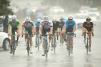 Competitors approach the finish line in wet and windy conditions during the NZ Cycle Classic stage one of the UCI Oceania Tour in Wairarapa, New Zealand on Sunday, 22 January 2017. Photo: Hagen Hopkins / lintottphoto.co.nz