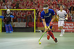 GER - Muelheim an der Ruhr, Germany, February 05: During the FinalFour final men hockey match between Rot-Weiss Koeln (whize) and Mannheimer HC (blue) on February 5, 2017 at innogy Sporthalle in Muelheim an der Ruhr, Germany. (Photo by Dirk Markgraf / www.265-images.com) *** Local caption *** Paul Zmyslony #13 of Mannheimer HC