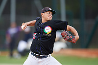 Agnel Miranda (25) during the WWBA World Championship at the Roger Dean Complex on October 11, 2019 in Jupiter, Florida.  Agnel Miranda attends Puerto Rico Baseball Academy in Cayey, PR and is committed to Alabama State.  (Mike Janes/Four Seam Images)
