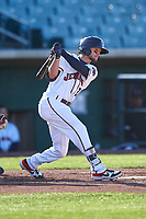 Lancaster JetHawks catcher Matt Hearn (2) during a California League game against the Lake Elsinore Storm on April 10, 2019 at The Hangar in Lancaster, California. Lake Elsinore defeated Lancaster 10-0 in the first game of a doubleheader. (Zachary Lucy/Four Seam Images)