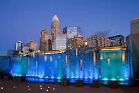 Romare Bearden Park  - The Charlotte NC skyline rises up out of the Romare Bearden Park in Uptown Charlotte's Third Ward .Buildings shown in photo include the  Wells Fargo buildings (middle), Bank of America tower and Hearst Tower. Romare Bearden Park is a 5.4-acre public park located at 300 S. Church Street in Charlotte, North Carolina.<br />