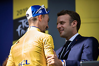 Yellow Jersey Julian Alaphilippe (FRA/Deceuninck Quick Step) congratulated on podium by the president of France Emmanuel Macron. <br /> <br /> <br /> Stage 14: Tarbes to Tourmalet (117km)<br /> 106th Tour de France 2019 (2.UWT)<br /> <br /> ©kramon