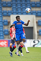 Kwame Poku of Colchester United heads forward during Colchester United vs Oldham Athletic, Sky Bet EFL League 2 Football at the JobServe Community Stadium on 3rd October 2020