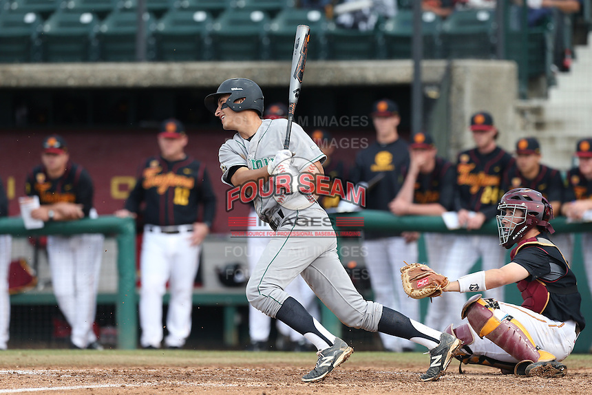 Mark Mathias #12 of the Cal Poly Mustangs bats against the USC Trojans during a game at Dedeaux Field on March 2, 2014 in Los Angeles, California. Cal Poly defeated USC, 5-1. (Larry Goren/Four Seam Images)