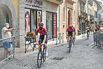 Masked Team Ineos riders make their way to sign on before Stage 2 of the Route d'Occitanie 2020, running 174.5km from Carcassone to Cap Découverte, France. 2nd August 2020. <br /> Picture: Colin Flockton | Cyclefile<br /> <br /> All photos usage must carry mandatory copyright credit (© Cyclefile | Colin Flockton)