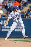 University of Washington Huskies Josh Burgmann (20) delivers a pitch to the plate against the Cal State Fullerton Titans at Goodwin Field on June 09, 2018 in Fullerton, California. The Cal State Fullerton Titans defeated the University of Washington Huskies 5-2. (Donn Parris/Four Seam Images)