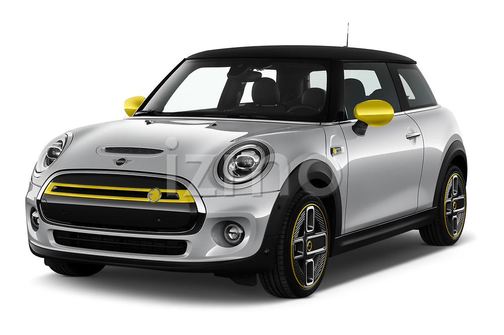 2020 MINI MINI-Electric Cooper-SE-L 2 Door Hatchback Angular Front automotive stock photos of front three quarter view