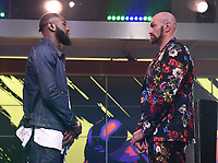 """LOS ANGELES - JANUARY 25: Deontay Wilder and Tyson Fury attend a Los Angeles press conference on January 25, 2020 for the """"Wilder vs Fury II"""" FOX SPORTS PPV & ESPN+ PPV which will take place on Feb. 22 from the MGM Grand Garden Arena in Las Vegas. (Photo by Frank Micelotta/Fox Sports/PictureGroup)"""