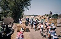 peloton passing through a farm yard<br /> <br /> 92nd Schaal Sels 2017 <br /> 1 Day Race: Merksem > Merksem (188km)