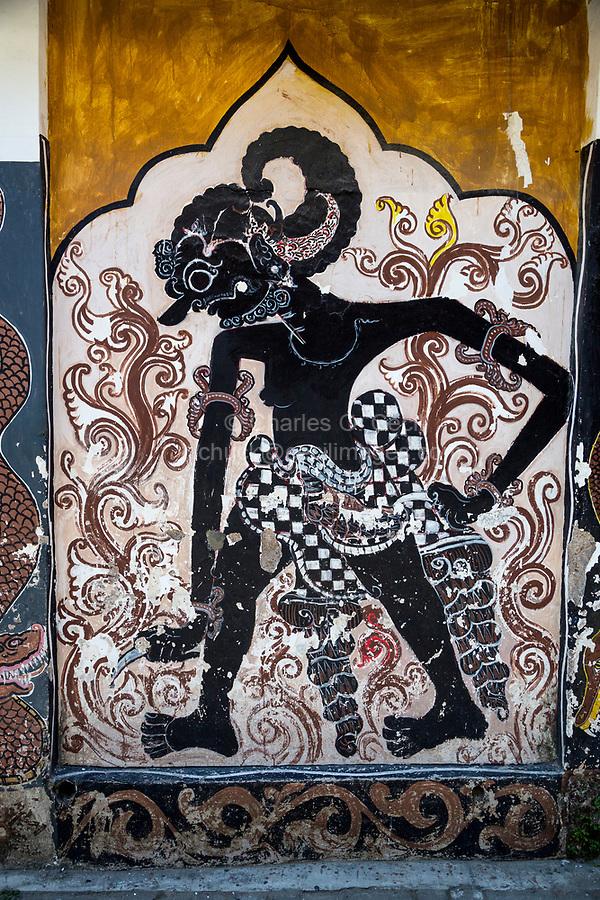 Yogyakarta, Java, Indonesia.  Mythological Figure Painted as Wall Mural on Side of a Private House.