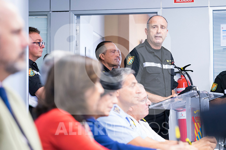 Defense Minister of Spain Margarita Robles visits the Military Emergency Unit (UME) on account of heavy floods in the west of Spain. September 14, 2019. (ALTERPHOTOS/Francis Gonzalez)